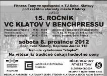 15. ročník Velké ceny Klatov v benchpressu
