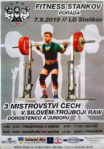 3. Mistrovství Čech v klasickém (RAW) silovém trojboji dorostu a juniorů