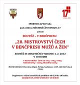 Pozvánka na 20. Mistrovství Čech v benčpresu mužů a žen, Praha - Řepy