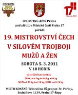 Pozvánka na 19. Mistrovství Čech v silovém trojboji mužů a žen, Praha - Řepy