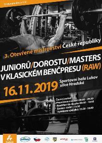 3. Otevřené Mistrovství ČR v klasickém (RAW) benčpresu dorostu, juniorů a masters